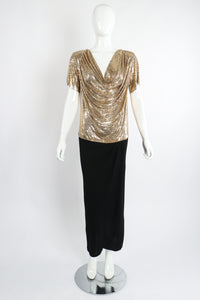 Vintage Anthony Ferrara Gold Mesh Draped Cowl Dress on Mannequin Front Untie at Recess LA