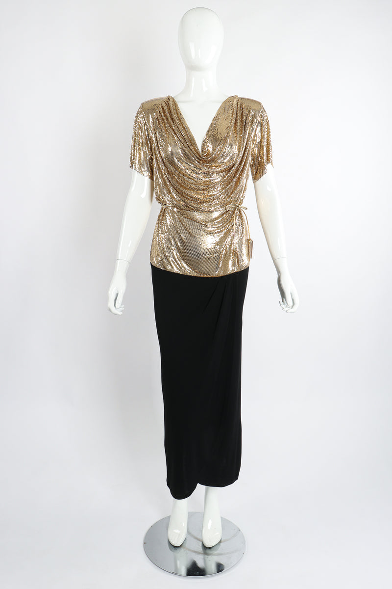 Vintage Anthony Ferrara Gold Mesh Draped Cowl Dress on Mannequin Front at Recess Los Angeles