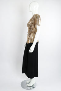 Vintage Anthony Ferrara Gold Mesh Draped Cowl Dress on Mannequin Side at Recess Los Angeles
