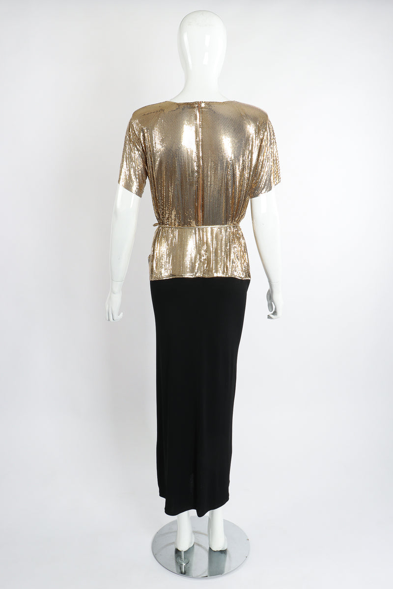 Vintage Anthony Ferrara Gold Mesh Draped Cowl Dress on Mannequin Back at Recess Los Angeles