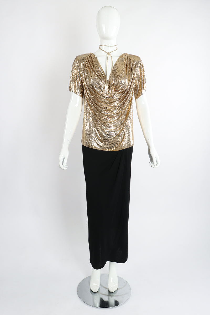 Vintage Anthony Ferrara Gold Mesh Draped Cowl Dress on Mannequin Front Choker at Recess Los Angeles