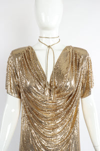 Vintage Anthony Ferrara Gold Mesh Draped Cowl Dress on Mannequin Neckline choker at Recess Los Angeles