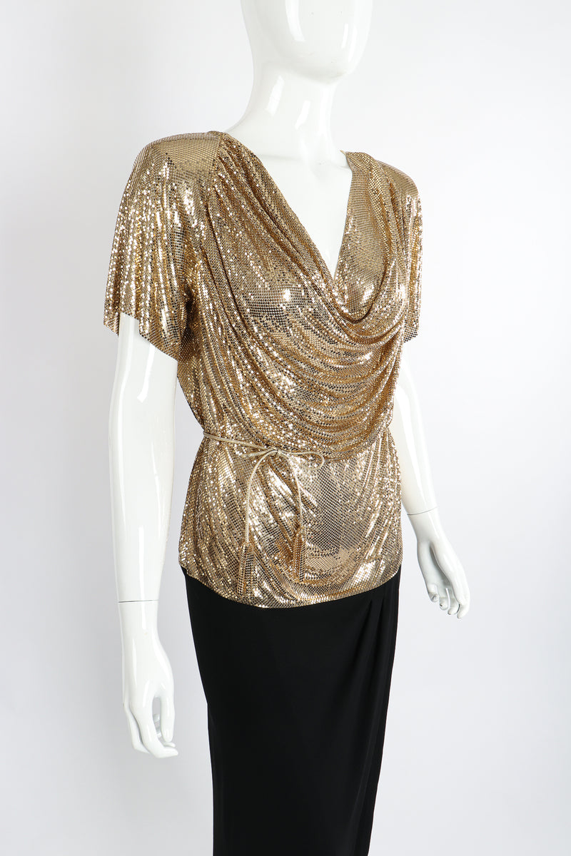 Vintage Anthony Ferrara Gold Mesh Draped Cowl Dress on Mannequin Angle Crop at Recess Los Angeles