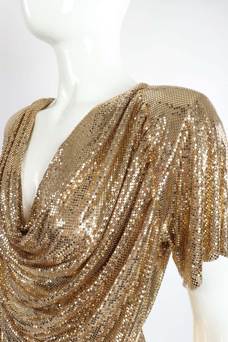 Vintage Anthony Ferrara Gold Mesh Draped Cowl Dress on Mannequin neck shoulder at Recess Los Angeles
