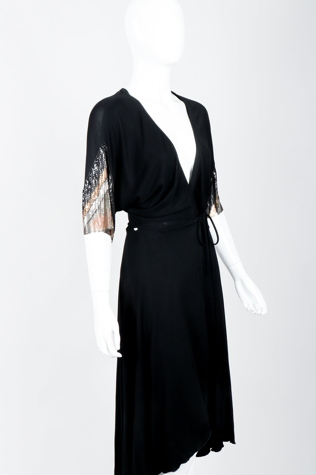 Vintage Anthony Ferrara Chevron Mesh Sleeve Wrap Dress on mannequin crop at Recess