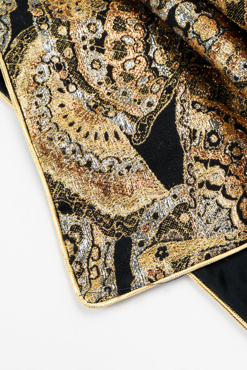 Vintage Anthony Muto Golden Brocade Fan Coccon Coat sleeve detail