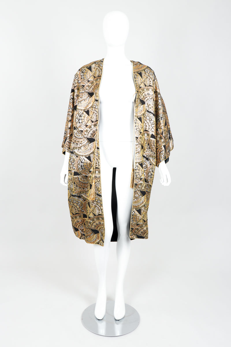 Vintage Anthony Muto Golden Brocade Fan Coccon Coat on Mannequin Open at Recess