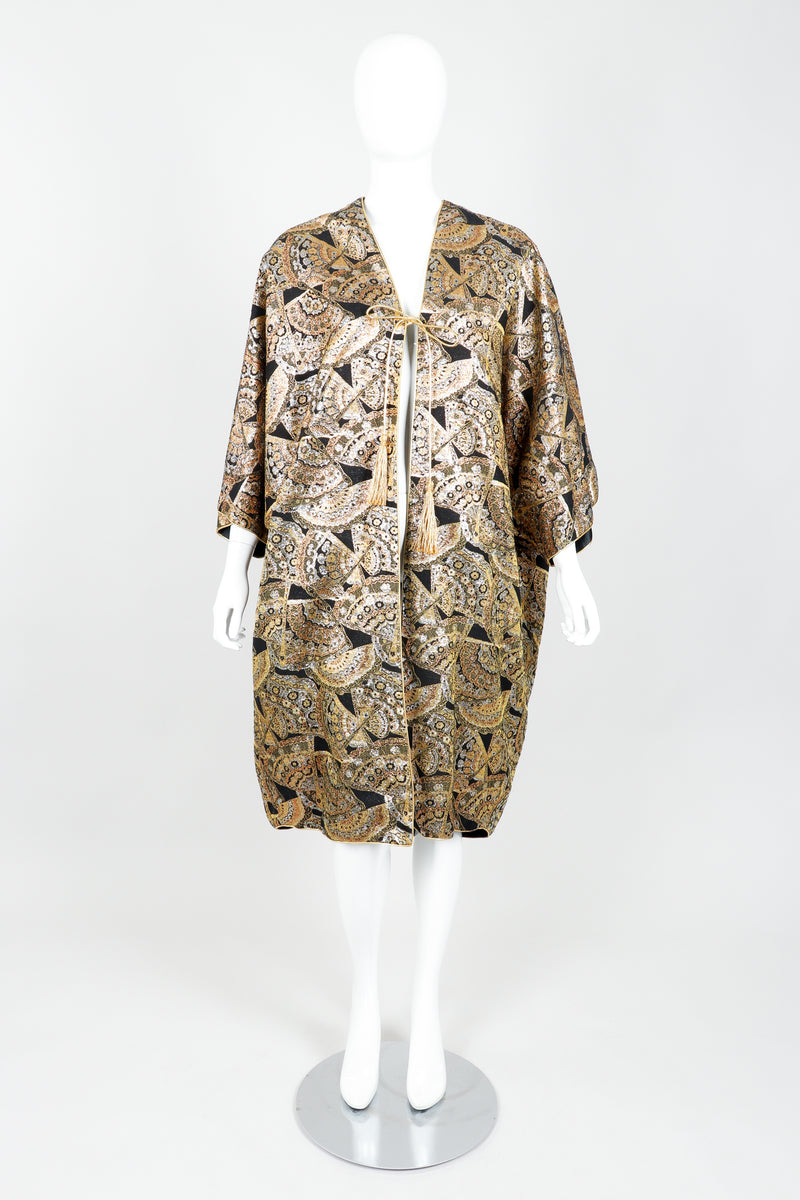 Vintage Anthony Muto Golden Brocade Fan Coccon Coat on Mannequin Front at Recess