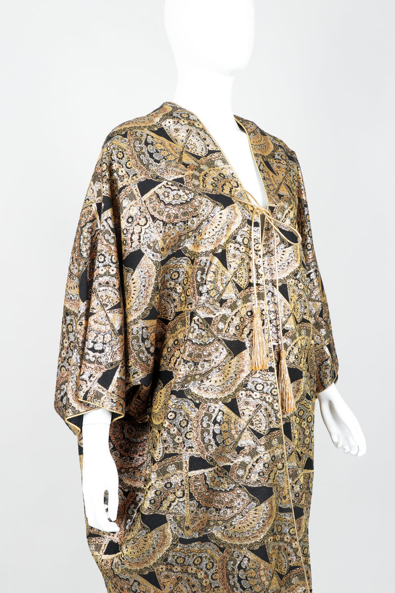 Vintage Anthony Muto Golden Brocade Fan Coccon Coat on Mannequin Crop at Recess