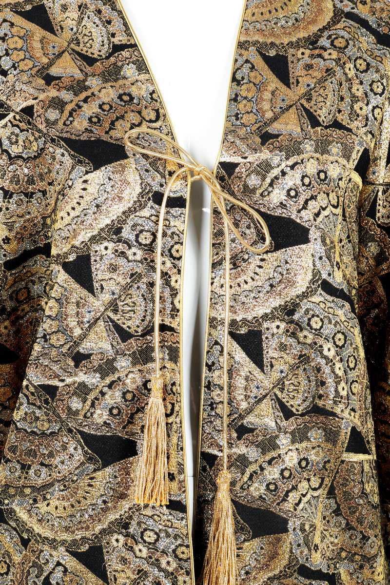 Vintage Anthony Muto Golden Brocade Fan Coccon Coat on Mannequin tassel tie at Recess