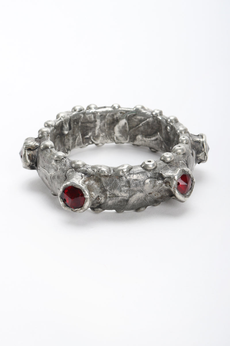Recess Designer Consignment Vintage Pewter Dragon Ruby Bangle Bracelet Los Angeles Resale