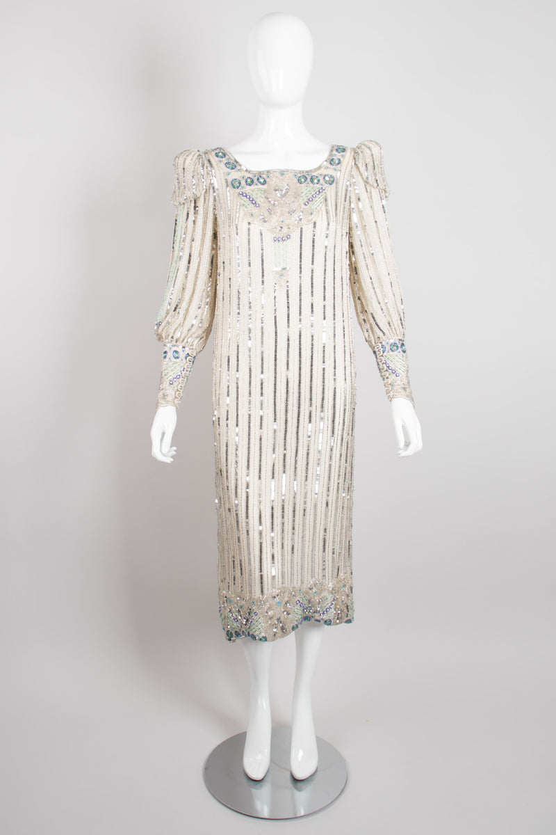 Apropos Sequined Stripe Puff Sleeve Art Deco Shift Dress