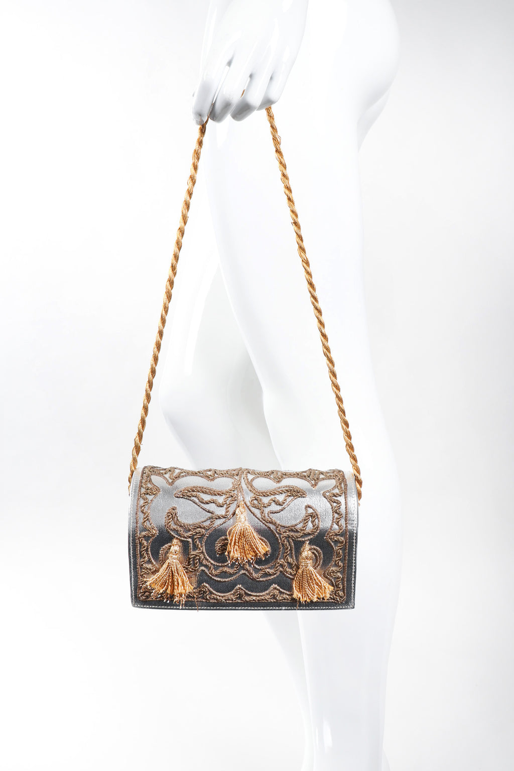 Recess Los Angeles Vintage Arnold Scaasi Embroidered Metallic Lamé Shoulder Bag