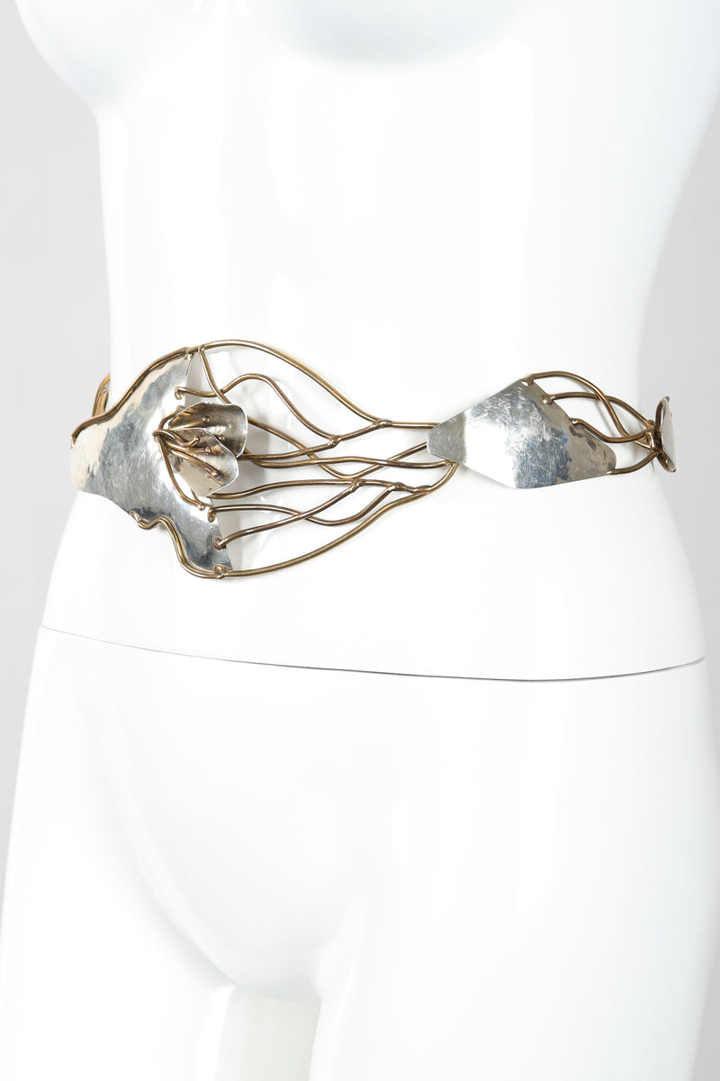 Recess Designer Consignment Vintage Joseph Boris Brutalist Art Sculpture Mixed Metal Flower Chain Belt Los Angeles Resale