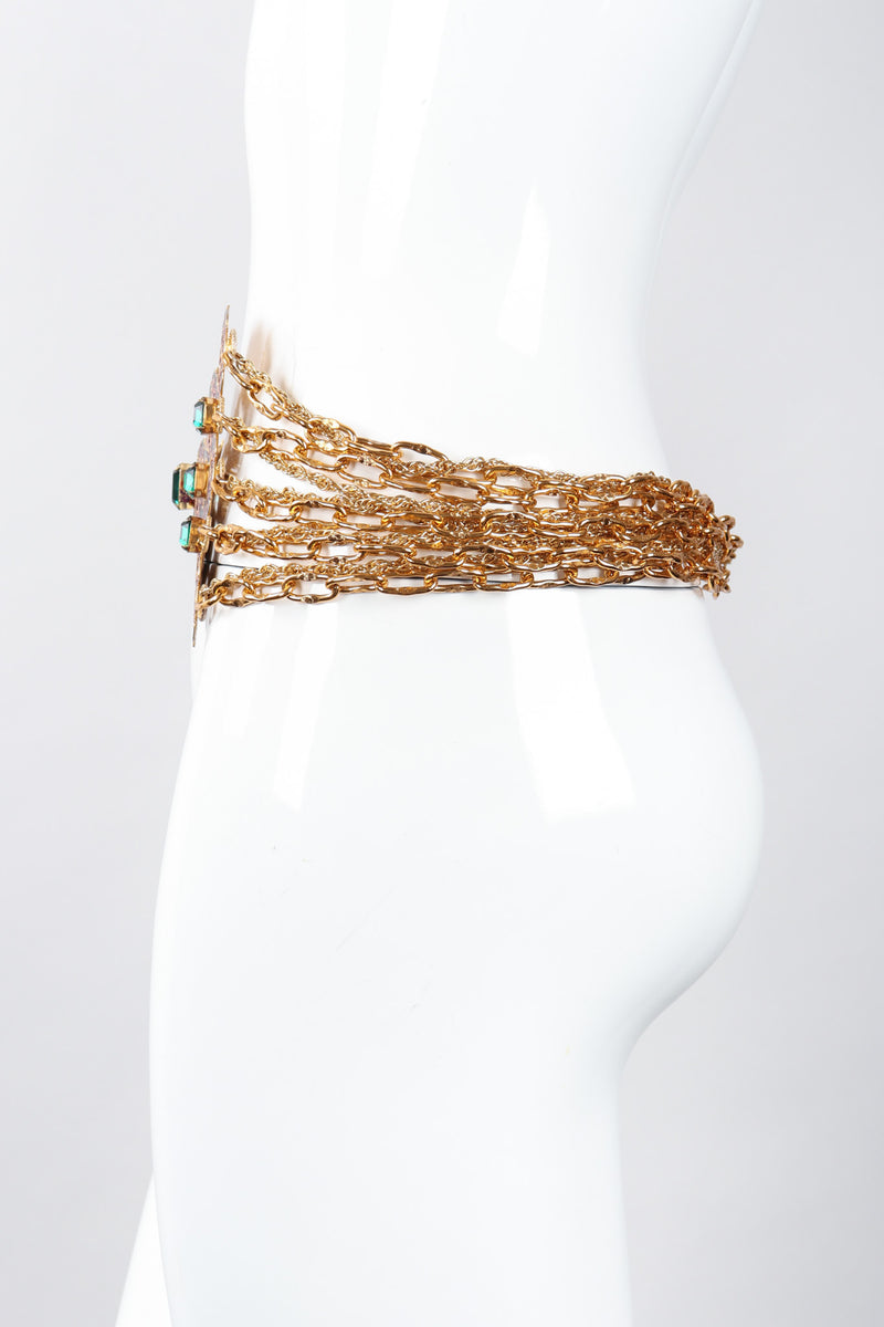 Recess Los Angeles Vintage Atelier Nina Pressed Metal Emerald Glass Stones Gold Chain Link