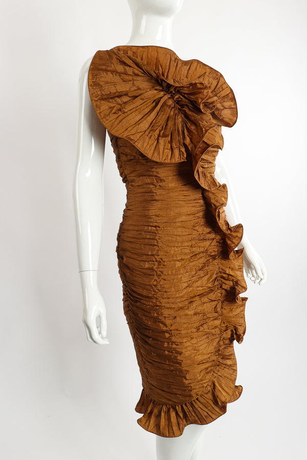 Vintage BB Collections Philodendron Ruched Ruffle Dress on Mannequin Angle at Recess Los Angeles