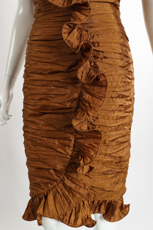 Vintage BB Collections Philodendron Ruched Ruffle Dress on Mannequin Skirt at Recess LA