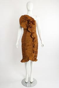Vintage BB Collections Philodendron Ruched Ruffle Dress on Mannequin Front at Recess LA