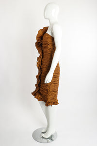Vintage BB Collections Philodendron Ruched Ruffle Dress on Mannequin Side at Recess LA