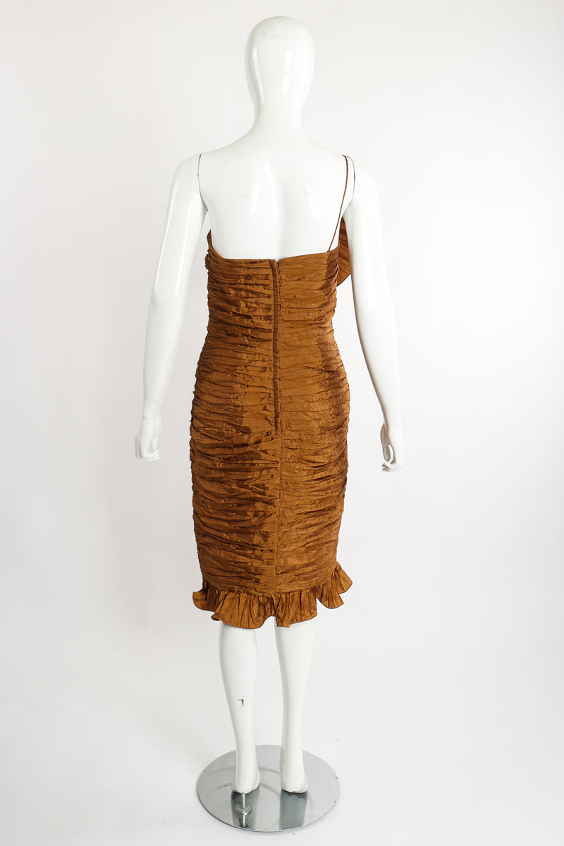Vintage BB Collections Philodendron Ruched Ruffle Dress on Mannequin Back at Recess LA