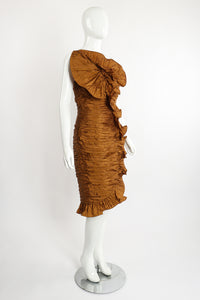 Vintage BB Collections Philodendron Ruched Ruffle Dress on Mannequin Angle at Recess LA