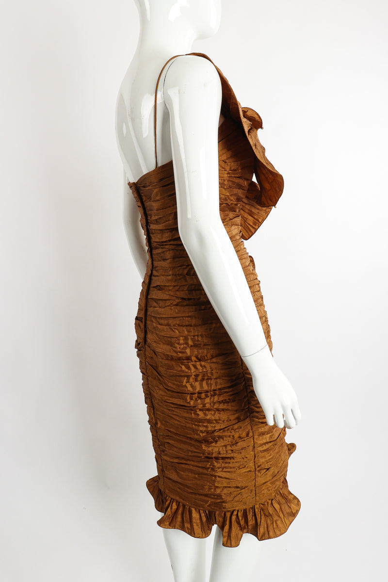 Vintage BB Collections Philodendron Ruched Ruffle Dress on Mannequin Back Angle at Recess LA