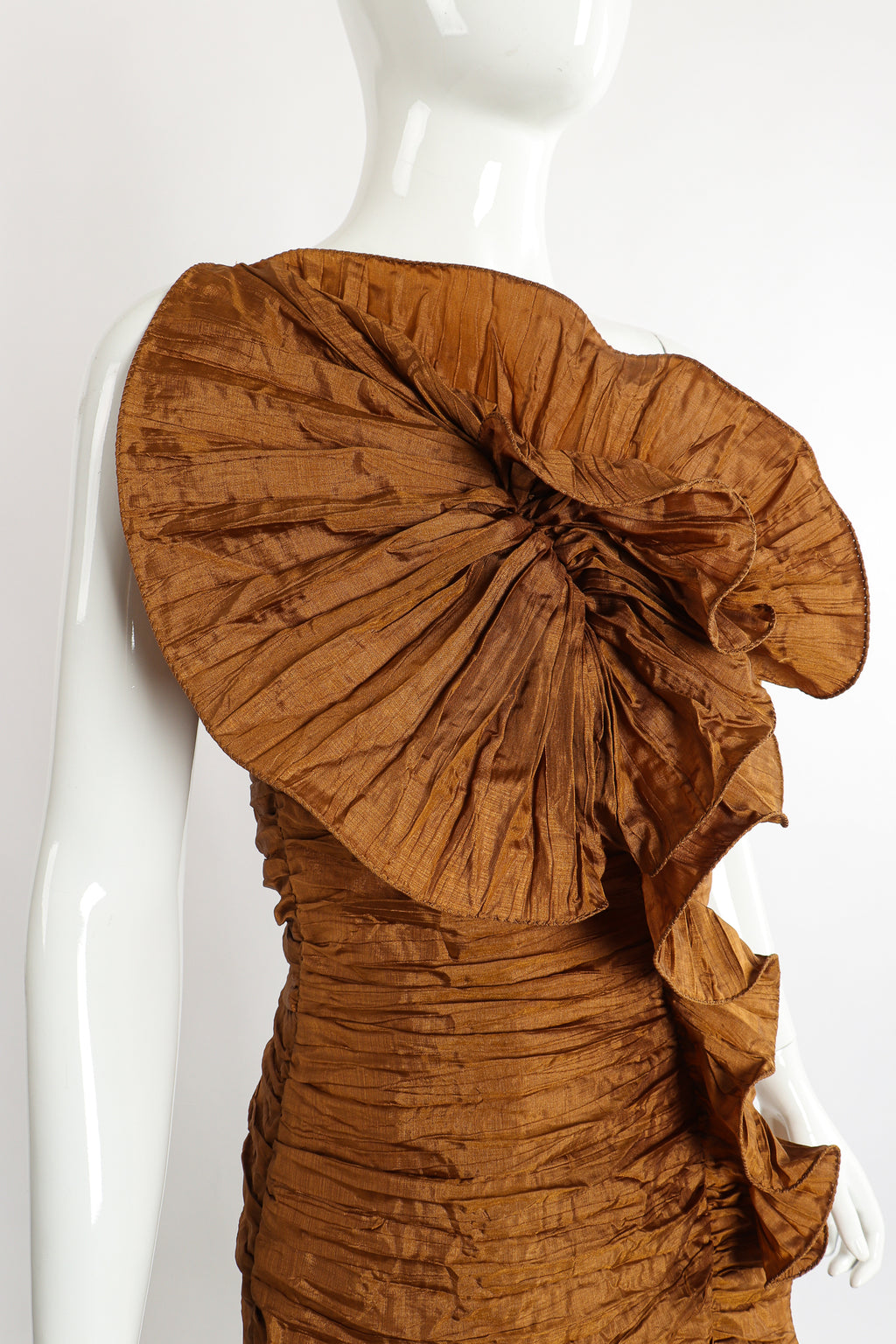 Vintage BB Collections Philodendron Ruched Ruffle Dress on Mannequin Neckline at Recess Los Angeles