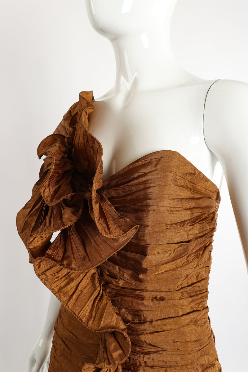 Vintage BB Collections Philodendron Ruched Ruffle Dress on Mannequin Bust Crop at Recess LA