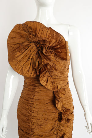 Vintage BB Collections Philodendron Ruched Ruffle Dress on Mannequin Front Crop at Recess LA