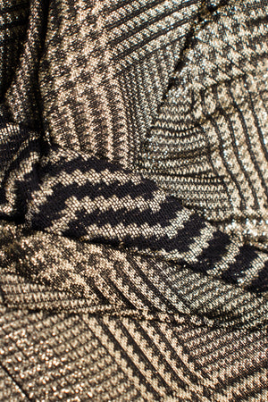 Bob Mackie Gold Lamé Houndstooth Gown