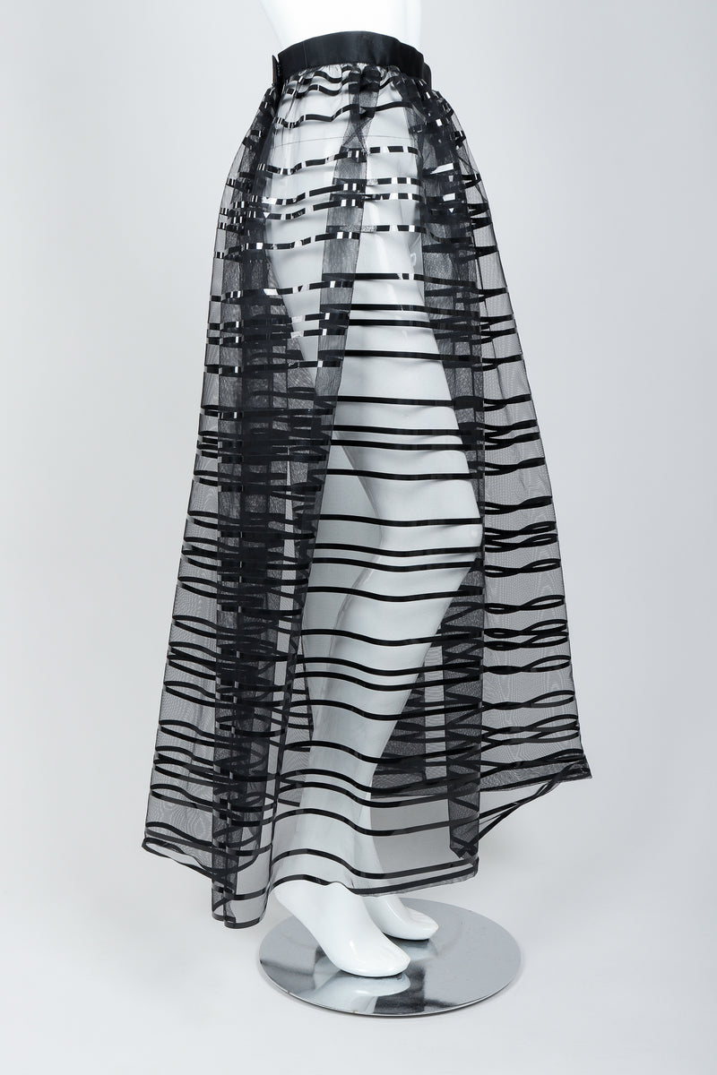 Vintage Badgley Mischka Sheer Black Striped Mesh Ball Skirt on Mannequin, side, at Recess