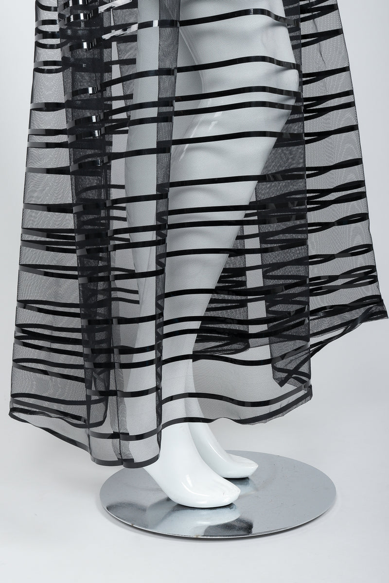 Vintage Badgley Mischka Sheer Black Striped Mesh Ball Skirt on Mannequin, hem, at Recess