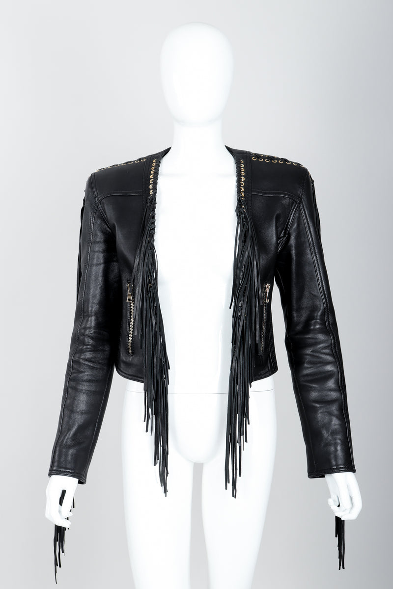 Vintage Balmain Rockstar Laced Fringe Leather Jacket on Mannequin front at Recess