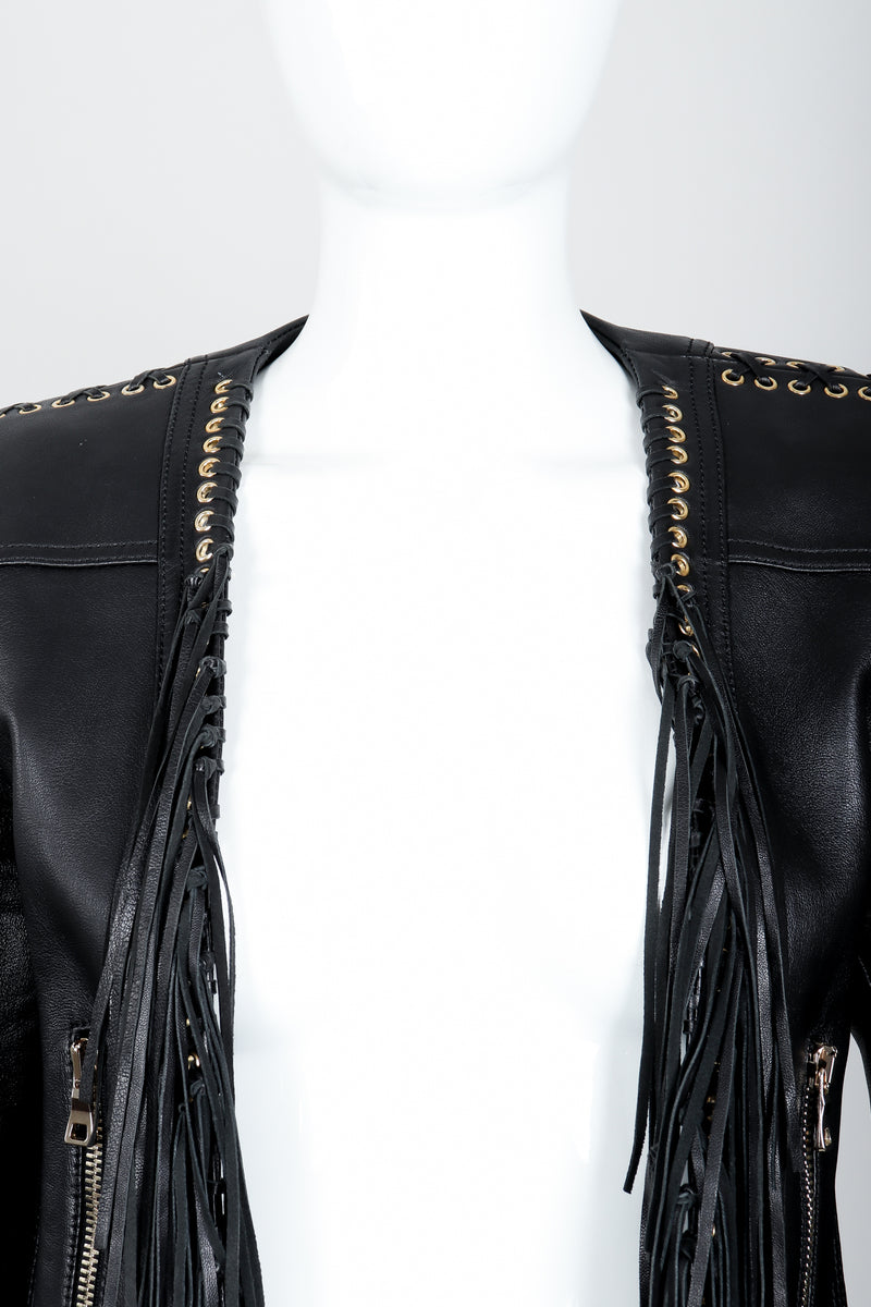 Vintage Balmain Rockstar Laced Fringe Leather Jacket on Mannequin neckline at Recess