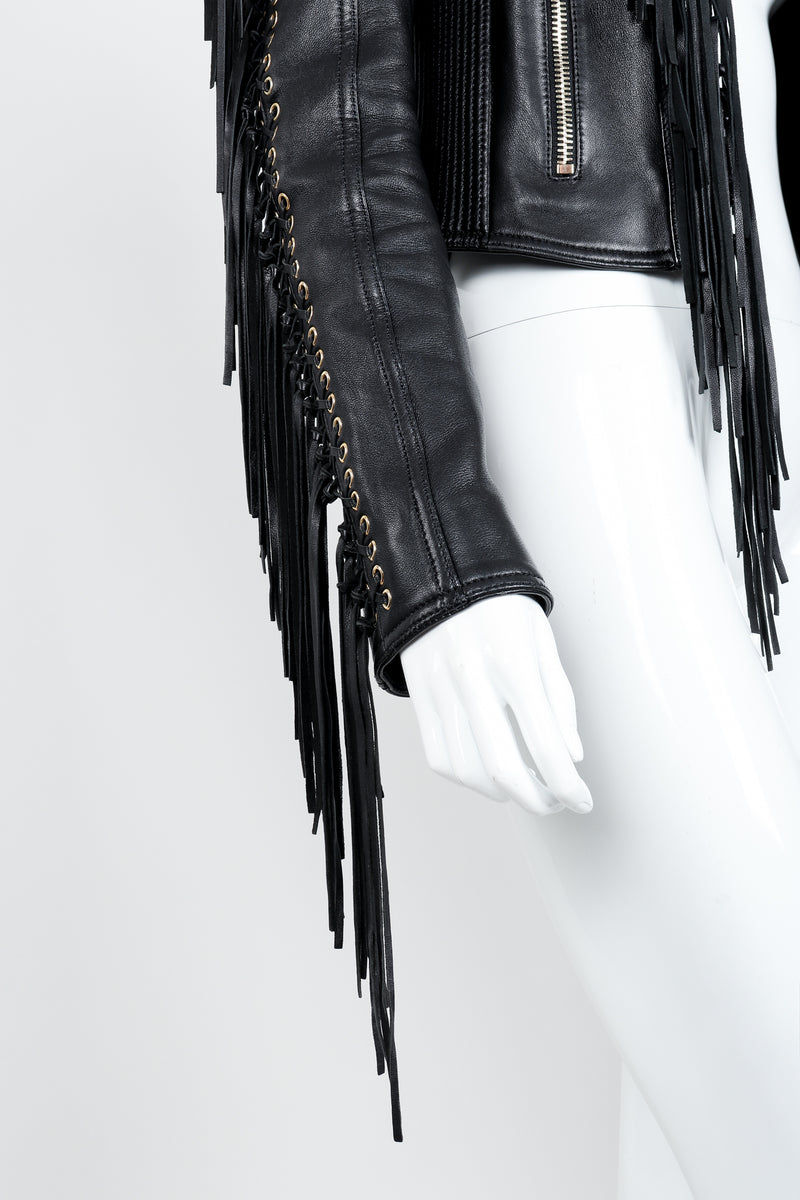 Vintage Balmain Rockstar Laced Fringe Leather Jacket on Mannequin sleeve detail at Recess