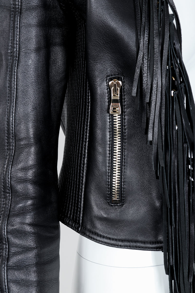 Vintage Balmain Rockstar Laced Fringe Leather Jacket on Mannequin waist detail at Recess