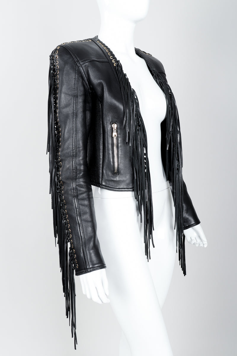 Vintage Balmain Rockstar Laced Fringe Leather Jacket on Mannequin angled at Recess