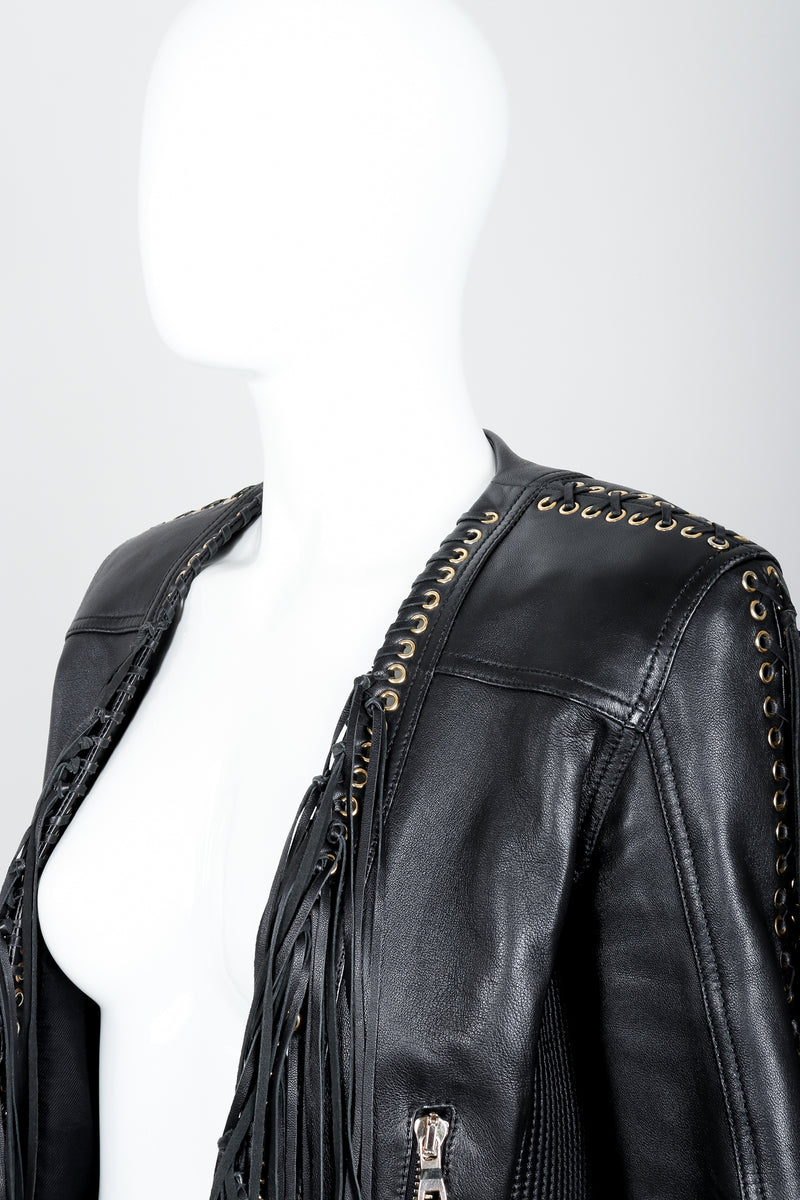 Vintage Balmain Rockstar Laced Fringe Leather Jacket on Mannequin neck at Recess
