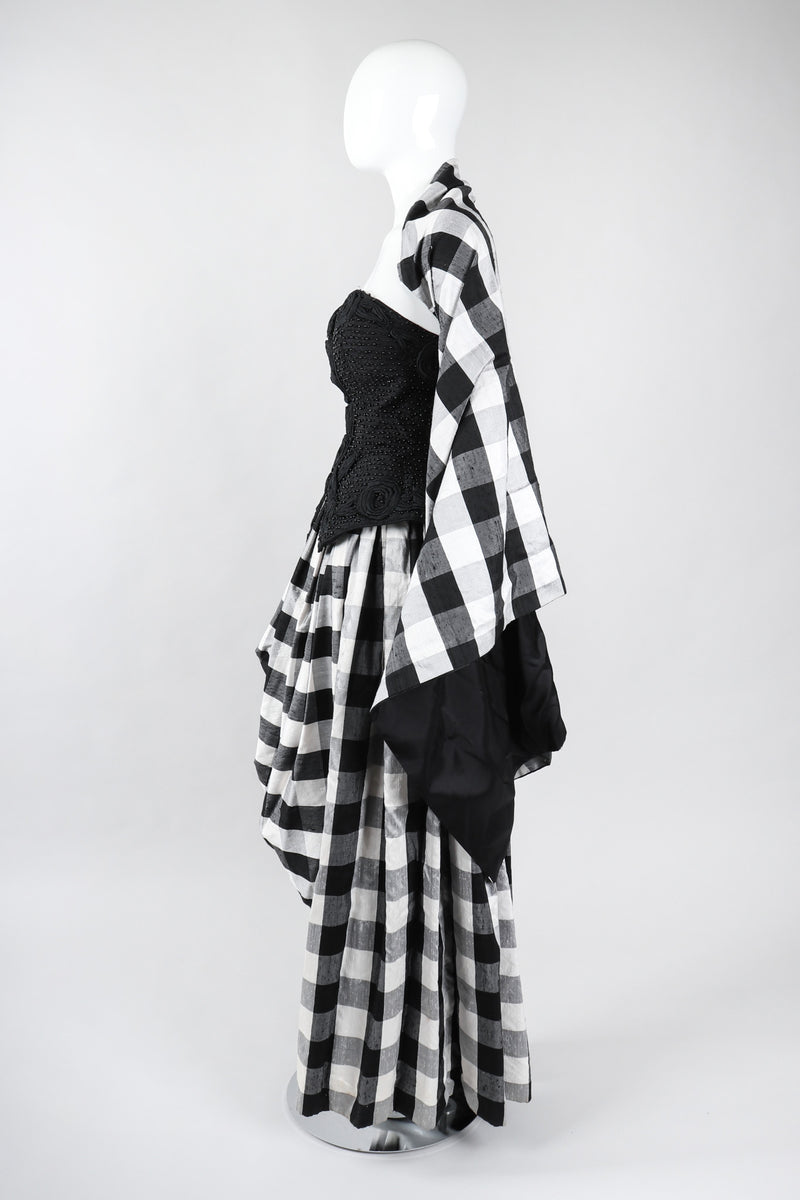 Recess Los Angeles Vintage Baracci Silk Gingham Bustier Ball Gown
