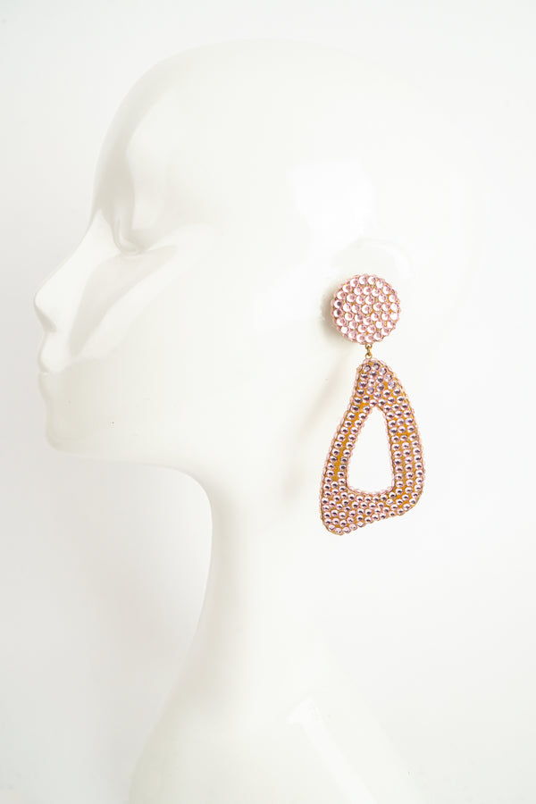 Vintage Barbara Groeger Lilac Rhinestone Triangle Hoop Earrings on Mannequin At Recess Los Angeles