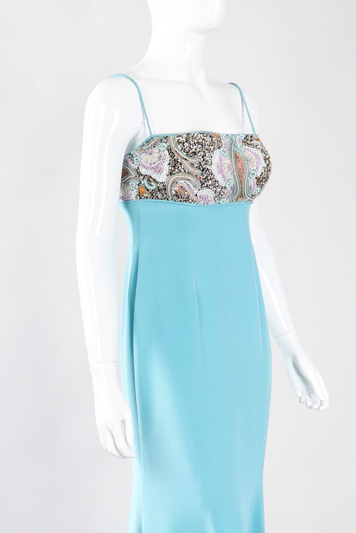 Recess Los Angeles Vintage Baracci Silk Mermaid Embellished Empire Dress