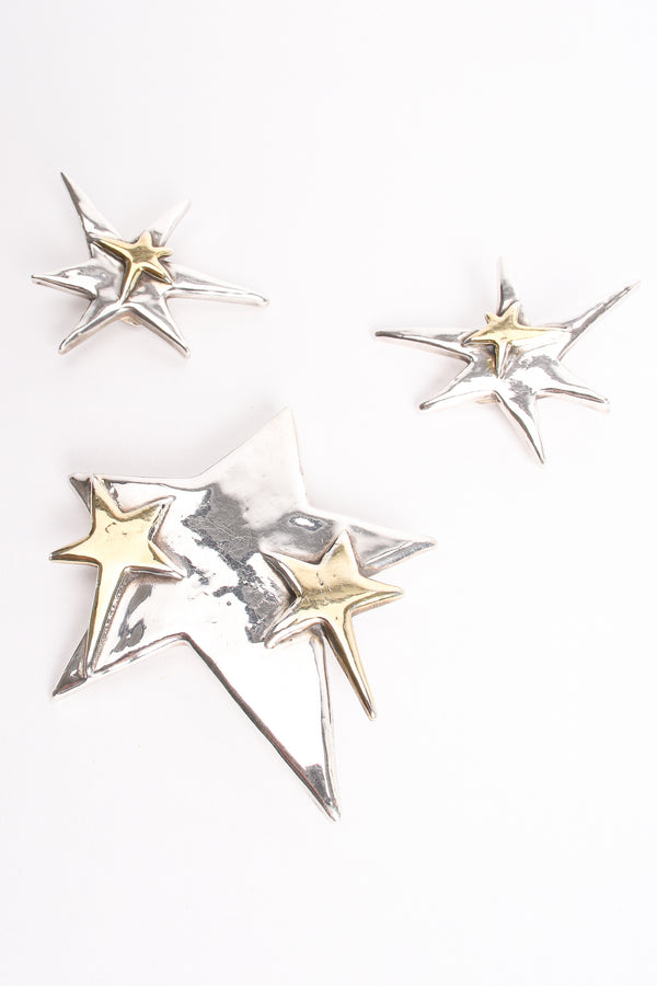 Vintage 925 Sterling Star Earrings & Brooch Set at Recess Los Angeles