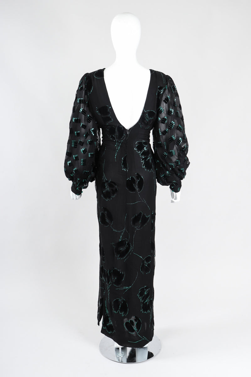 Recess Los Angeles Vintage Pauline Trigere Balloon Sleeve Glitter Velvet Burnout Dress