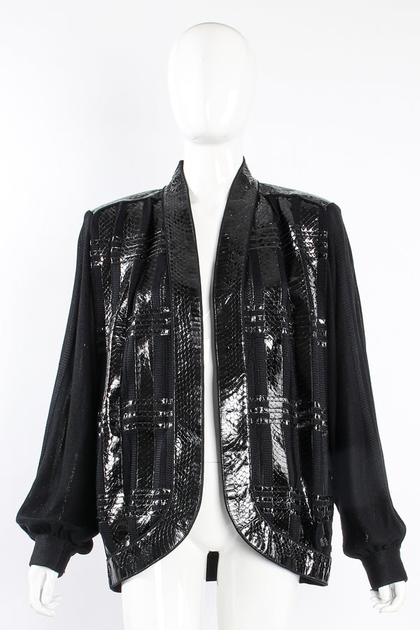 Vintage Beltrami Sheer Plaid Snake Batwing Jacket on Mannequin front at Recess Los Angeles