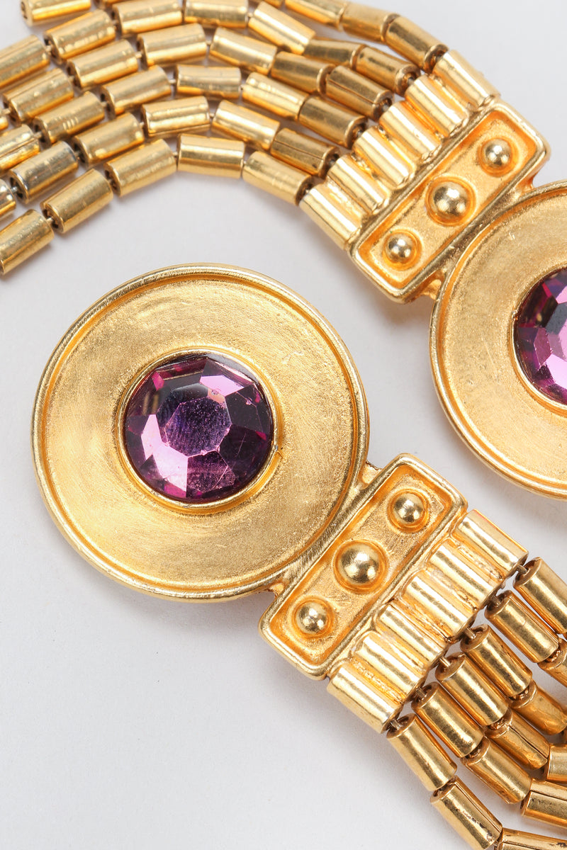 Recess Vintage Ben Amun Amethyst Disc Fringe Earrings Close Up