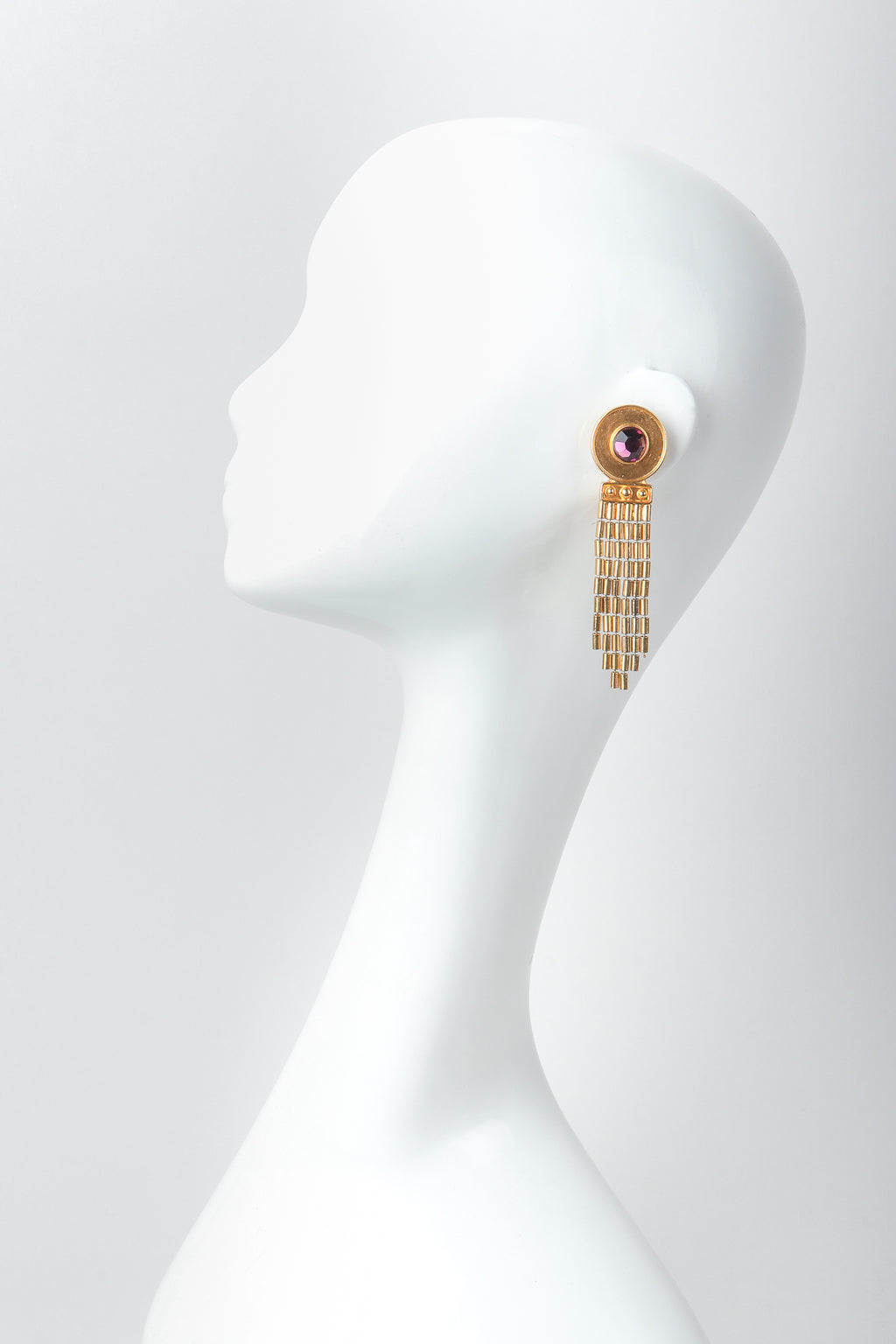 Recess Vintage Ben Amun Amethyst Disc Fringe Earrings on Mannequin