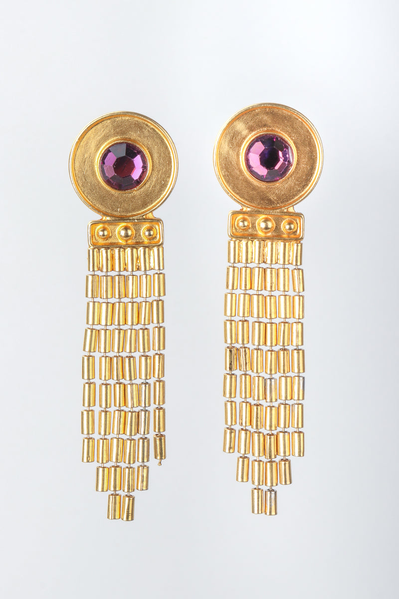 Recess Vintage Ben Amun Amethyst Disc Fringe Earrings on Grey Background