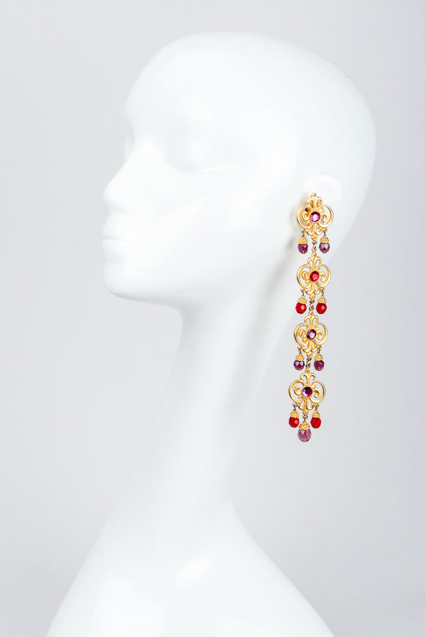 Vintage Ben Amun Long Flourish Drop Earrings on Mannequin at Recess