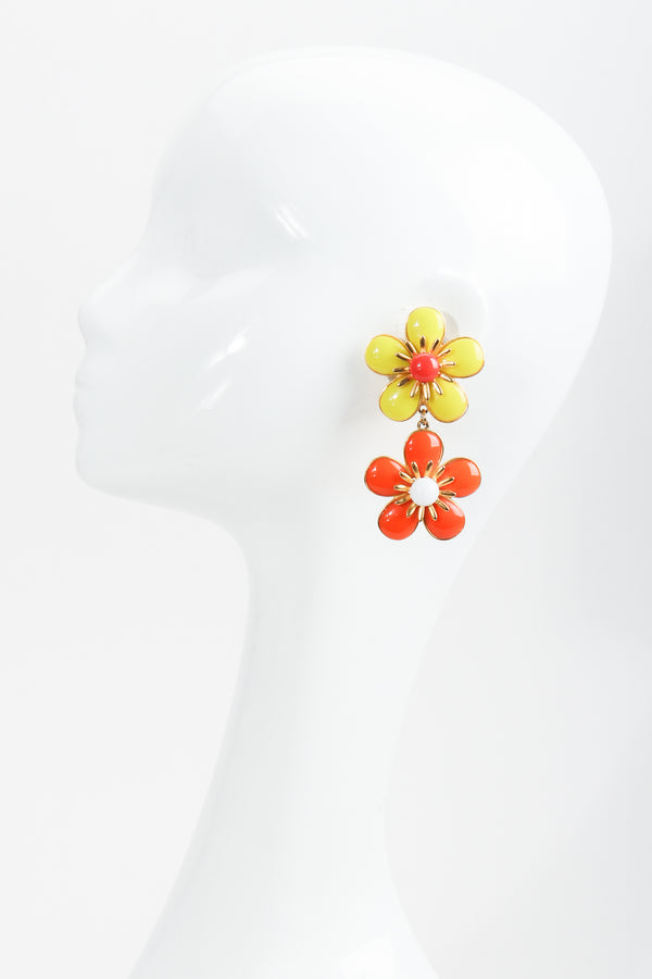 Vintage Ben Amun Double Daisy Drop Earrings on mannequin at Recess Los Angeles