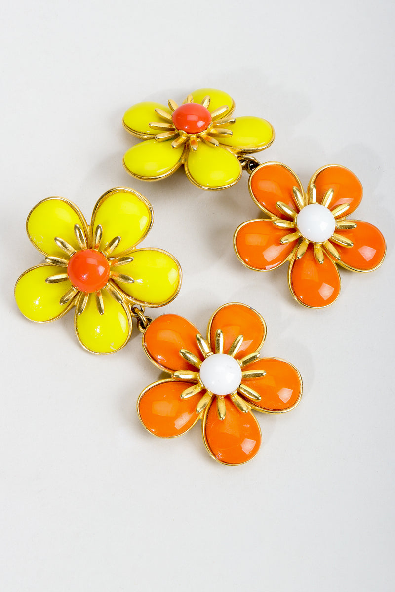 Vintage Ben Amun Double Daisy Drop Earrings at Recess Los Angeles